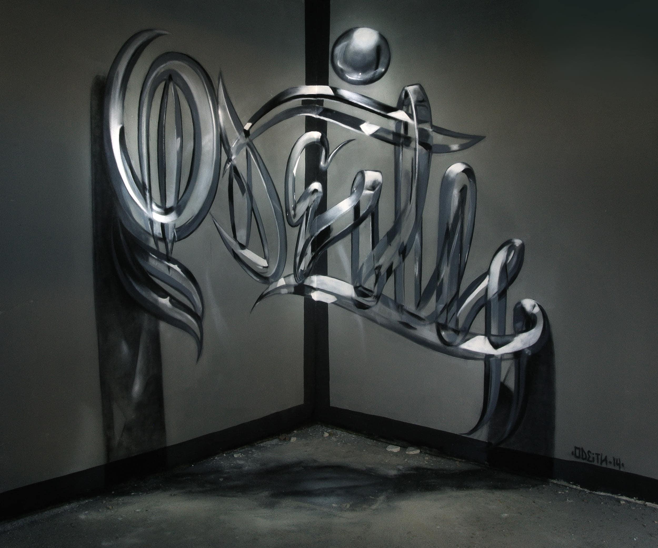 TILSITT GALLERY ODEITH Odeith Anamorphic graffiti letters Glossy glass effect-min