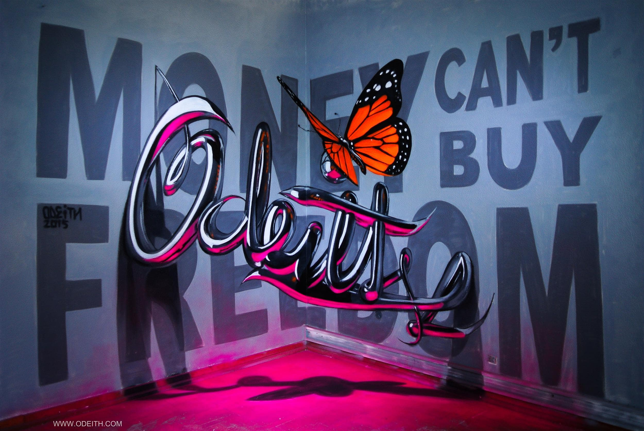 TILSITT GALLERY ODEITH anamorphic chrome letters odeith MONEY CANT BUY FREEDOM 2015-min